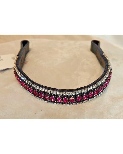 SIlver Black & Pink 5 Row Crystal Browband Black Brown XP Pony cob Full XF (72)