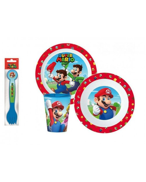 SUPER MARIO CHILDRENS KIDS TODDLERS 5 PC DINNER BREAKFAST SET PLATE BOWL CUP