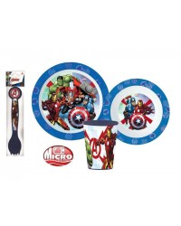 AVENGERS CHILDRENS KIDS TODDLERS 5 PC DINNER BREAKFAST SET PLATE BOWL CUP SPOON