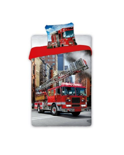 Fire Engine truck vehicle Single bed cover bedding 100% Cotton Red