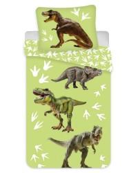 Dinosaur Bedding Toddler / Cot Bed T Rex triceratops Duvet Cover & Pillow Green