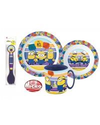 MINIONS KIDS CHILDRENS 5 PC DINNER DINING BREAKFAST SET PLATE BOWL MUG SPOON