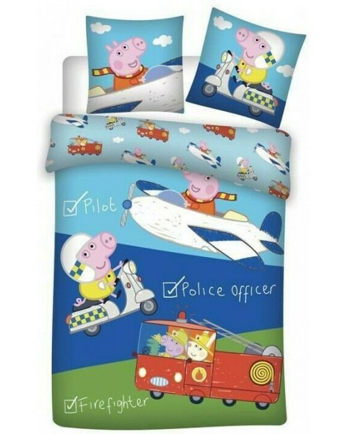 George Peppa Pig Vehicle Bedding Toddler Reversible Duvet Cover Pillow Bed set