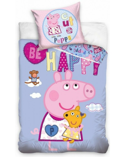Peppa Pig cute lilac Bedding Single Reversible Duvet Cover Pillow Bed set