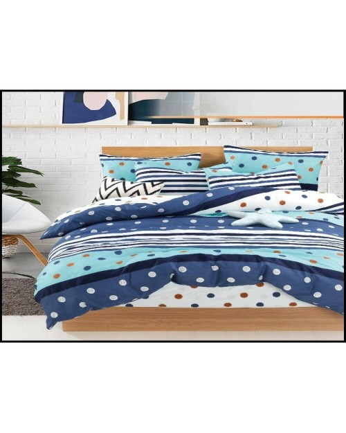Blue Spots & Stripes design Bedding Single duvet cover Pillow Case Bed set