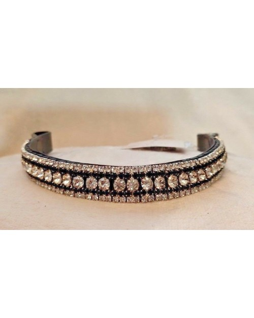 Silver & Black 5 row Crystal Browband Black or Brown Pony cob Full Horse (9)
