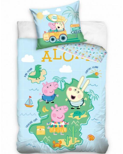 Peppa Pig Aloha Bedding Single Reversible Duvet Cover Pillow Bed set