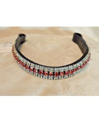 Double Silver & Pink 5 Row Crystal Browband Black Brown XP Pony cob Full XF (73)