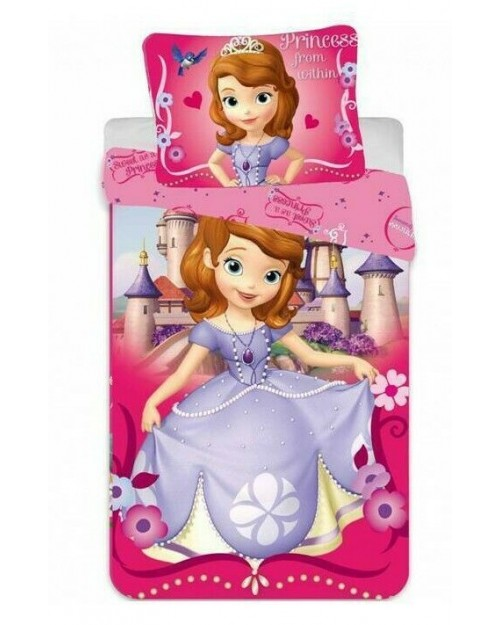 Sofia the First Toddler Bedding Cot Bed Disney Princess 100% Cotton Pink
