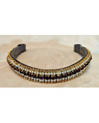 Gold pearl & purple 5 Row Crystal Browband Black Brown Pony cob Full Horse (23)