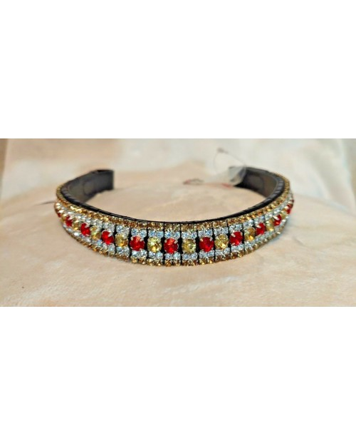Gold white & Red 5 Row Crystal Browband Black Brown Pony cob Full Horse (27)