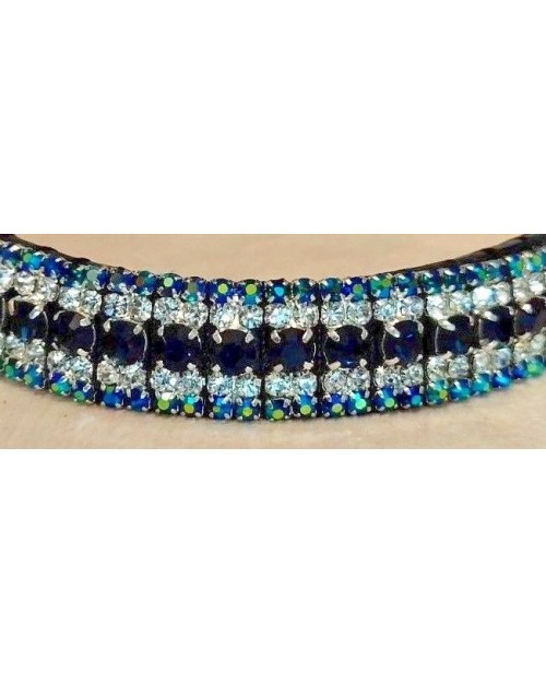 Blue & Silver 5 row Crystal Browband Black or Brown Pony cob Full Horse (40)