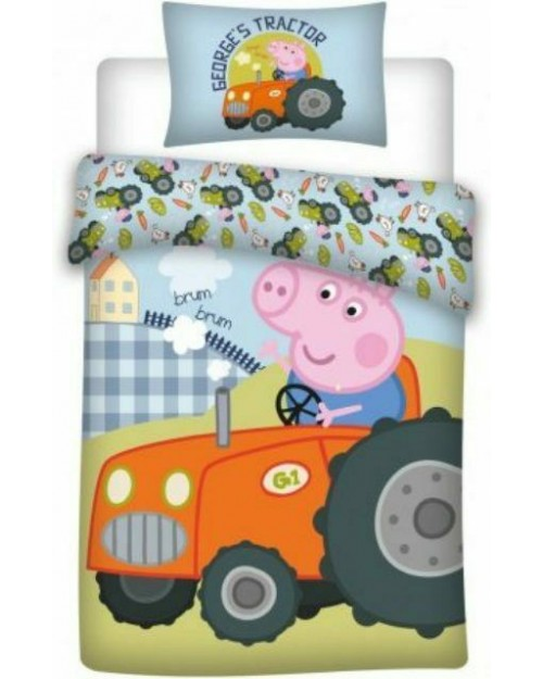 Peppa Pig george Tractor Bedding Toddler Reversible Duvet Cover Pillow Bed set