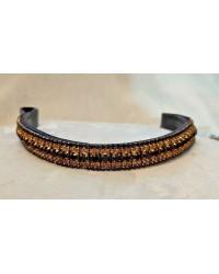 Black & Gold Crystal & leather Browband Black or Brown Pony cob Full (10)