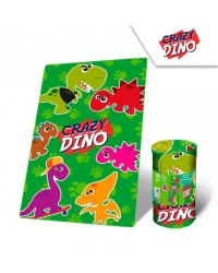 Crazy Dino Dinosaur Fleece Blanket Bright Green Fun Friendly 100 x 150cm