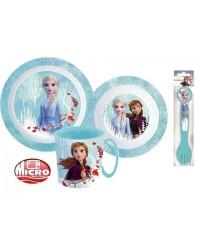 FROZEN KIDS TODDLERS 5 PC DINNER BREAKFAST SET PLATE BOWL MUG CUTLERY BLUE